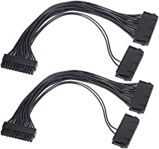 Power Supply Splitter, Hamkot 2-Pack Dual PSU Cable Adapter 24 Pin 20+4 Pin ATX Motherboard Adapter Extension Cable Dual 24-Pin Mining Power Adapter 12 Inch (30CM) - coolthings.us