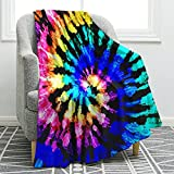 Jekeno Colorful Blanket Rainbow Blue Purple Boho Spirals Psychedelic Print Blankets Throws Warm Throw Blanket for Couch Office Boys Girls 50'x60'