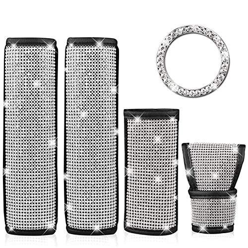Dasing 5 Pack Diamond Car Accessories for Women Interior, Bling Seat Belt...