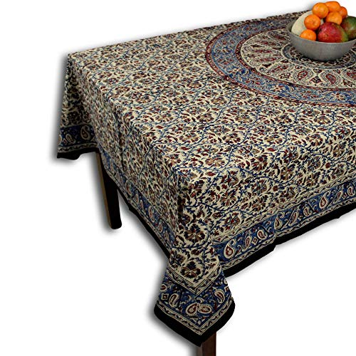 Cotton Block Print Tablecloth for Rectangle Tables Kalamkari Mandala Paisley Floral Handmade Cotton 60 x 90 inches
