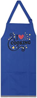 ShalinIndia Apron with Pocket Adjustable Neck Strap and Waist Ties 22 Inch x 34 Inch Apron for Women Chefs Navy Blue