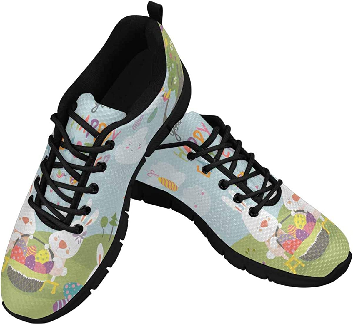 INTERESTPRINT Easter Bunnies and Easter Egg Women's Athletic Walking Shoes Casual Mesh Comfortable Work Sneakers