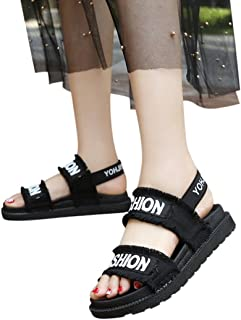 AIMTOPPY HOT Sale, Summer Gladiator Women Cloth Platform Flat Fashion Shoes Casual Occasions Comfortable Sandals (US:6, Black)