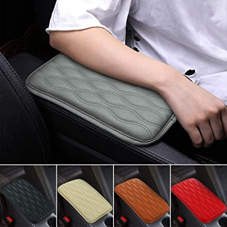 Arm Rest Cover with Black Line PU Leather Armrest Cover Black Car Center Console Seat Box Cover Pad Fit for Octavia A7 MK3 2015-2018