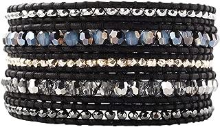 Chan Luu White Opal Sky Blue Mix Crystal Stones and Silver Tone Wrap Bracelet