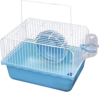 JUILE YUAN Portable Hamster Cage, Critter Carrier with Running Exercise Wheels, Water Bottle, for African Miniature Rabbit...
