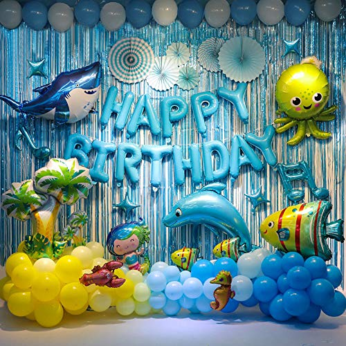 Dolphin--Birthday Party Backdrop Decorations Ocean Animals Themed Balloon Birthday Party Supplies Fish Balloon Sea Animals Themed Backdrop Decorations For Birthday Party, More Than 90 Pcs For Your Ocean Themed Birthday Party.