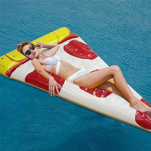 Ligne Flottante Gonflable Ballon géant Pizza Pool Float Lounge Raft Fun Pool Swim Party Toy for Enfants Adultes (1 Paquet) (Couleur   Blanc, Taille   Libre Taille)