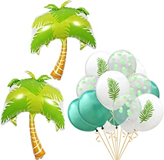 Beach Summer Tropical Party Theme Palm Tree Balloons Hawaii Party Decorative Palm Tree Mylar Balloon Colorful Balloons for Luau Party Decor Hawaiian Decorations Party Supplies