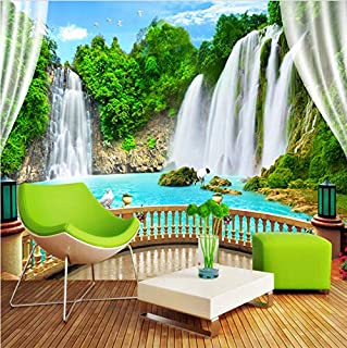 Svsnm Custom Wall Mural Mountain Water Waterfall Balcony Window Nature Landscape 3D Photo Wallpaper