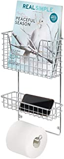 mDesign Wall Mount Metal Toilet Tissue Paper Roll Holder and Dispenser - 3 Tier Bathroom Storage Organizer with Magazine Rack Basket and Accessory Tray - Chrome