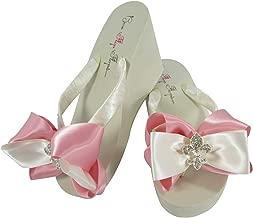 Pink Fleur De Lis Wedding Flip Flops, Rhinestone Heel with Bows