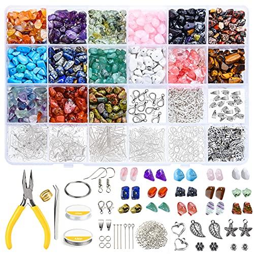 CHRORINE 1500Pcs cuentas de cristal irregular chips abalorios de piedra kit con ganchos de pendiente elastic string langosta cierres para la fabricación de pulseras de pendiente