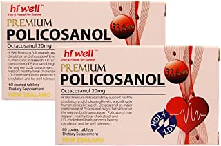 Hiwell Premium Policosanol 33.4mg (Octacosanol 20mg) 60 Tablets (Pack of 2)