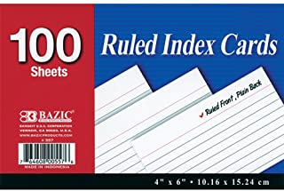 "BAZIC 100 Ct. 4"" X 6"" Ruled White Index Card (Case of 24) photo"