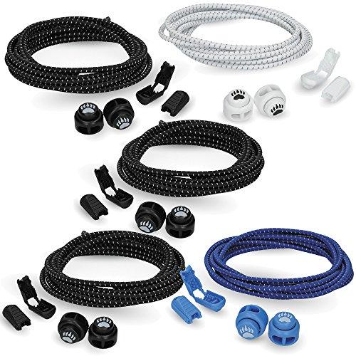 Bearformance Schnürsenkel mit Schnellverschluss Elastische Sportschnürsenkel - Schnellschnürsystem schleifenlos ohne binden (3 x Schwarz, 1 x Weiß, 1 x Blau)