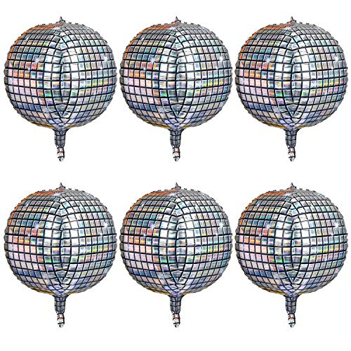 6 Count 22 Inch Disco Ball Balloon Silver laser 4D Large Inflatable Sphere Aluminum Foil Balloon Silver Mirror Balloon for Disco Dance Party Supplies Bouquet Wedding Baby Shower Decorations
