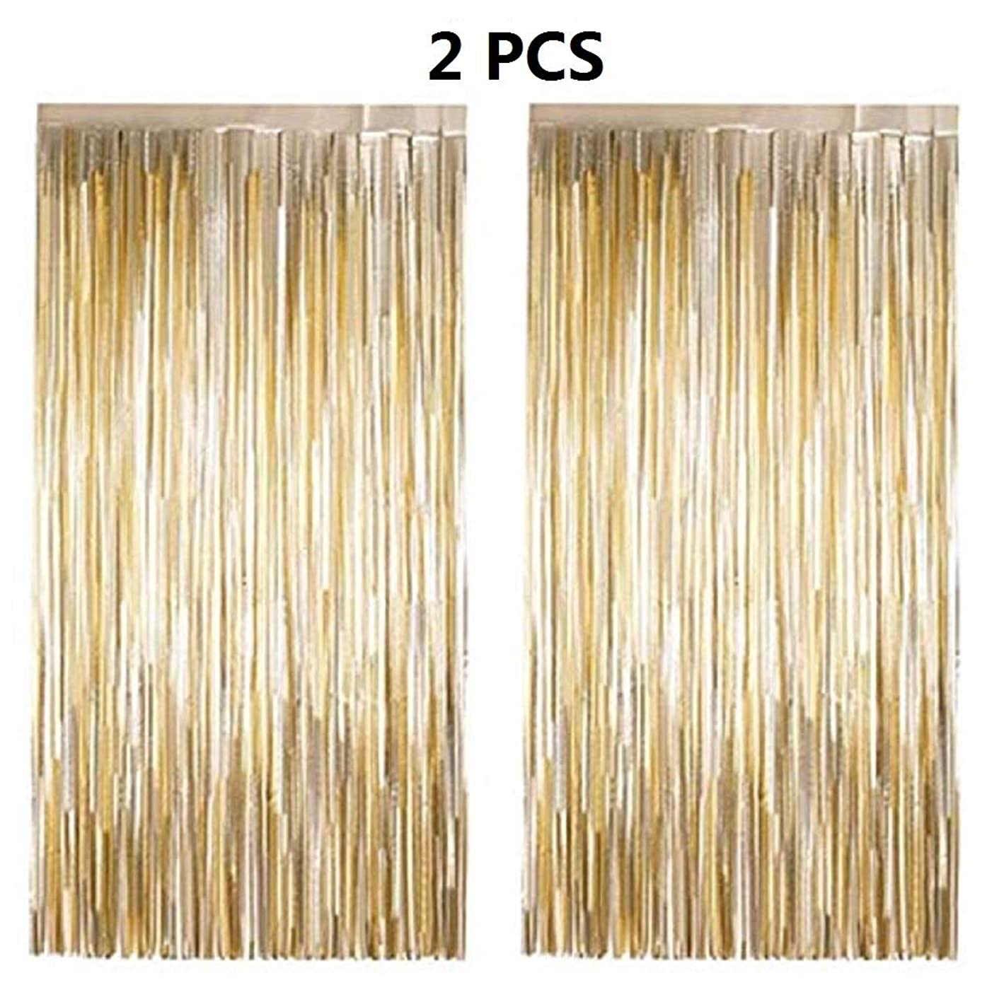 NPLUX 2PCS 3' X 6' Gold Metallic Tinsel Foil Fringe Curtain for Wedding Birthday Gastby Party Decoration Backdrop