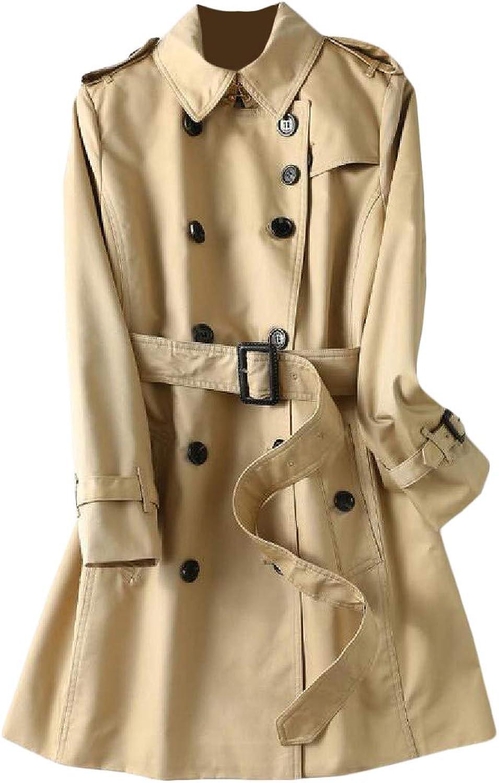Pandapang Women Slim Elegant Belt Double Breasted Trench Coat Jacket Overcoat