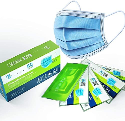Zen Mask 50pcs Disposable Mask 3 Layers Daily Use Anti Dust Face Masks with Elastic Ear Loop - Vacuumed Bag and Packe...