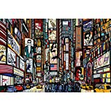 GREAT ART Poster  Times Square Illustration  Picture Decoration New York in Comic Style Music Acting US City Broadway Image Photo Decor Wall Mural (55x39.4in - 140x100cm)