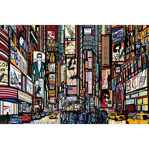 GREAT ART XXL Poster – Broadway – New York im Comic Style Wandbild Wanddekoration City Skyline Sightseeing Künstler Kunst Illustration Motiv Megastadt Dekoration (140 x 100 cm)