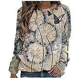 Sasaquoy Damen Pullover Blumen Libelle Drucken Sweatshirt Langarmshirt Langarm Rundhals Shirts...