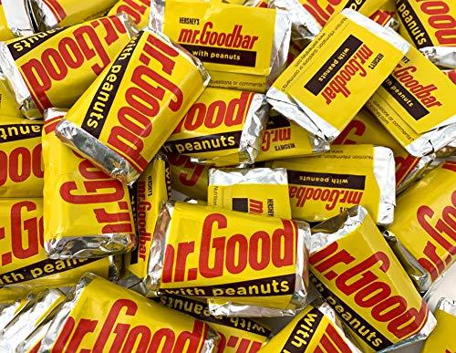 LaetaFood Hershey's Miniatures Mr. Goodbar Milk Chocolate Peanuts Candy Bar, Yellow Wrap Candy (2 Pound Bag)