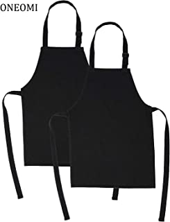ONEOMI Kids Apron, Medium, 100% Cotton with an Adjustable Strap to fit All Ages, Ideal for Cooking, Baking, Painting, Decorating, Party, Chef, Art and Classroom Children Apron (2, Black)