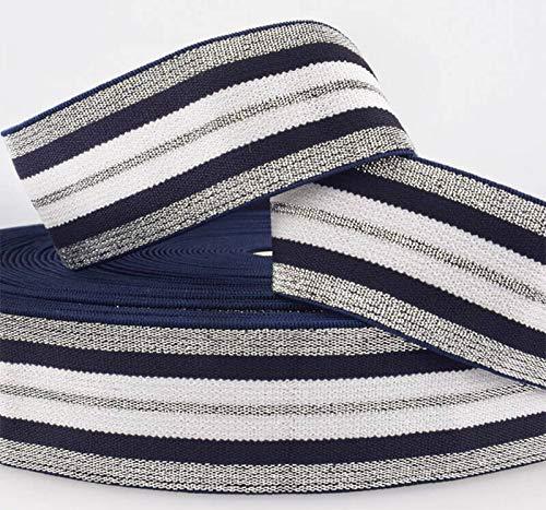 Zierstoff einfach nähen Fashion Elastic-Band, Dehnbares Gummiband gestreift, 40 mm breit - 3 Meter (Marine/Silber/Weiß)