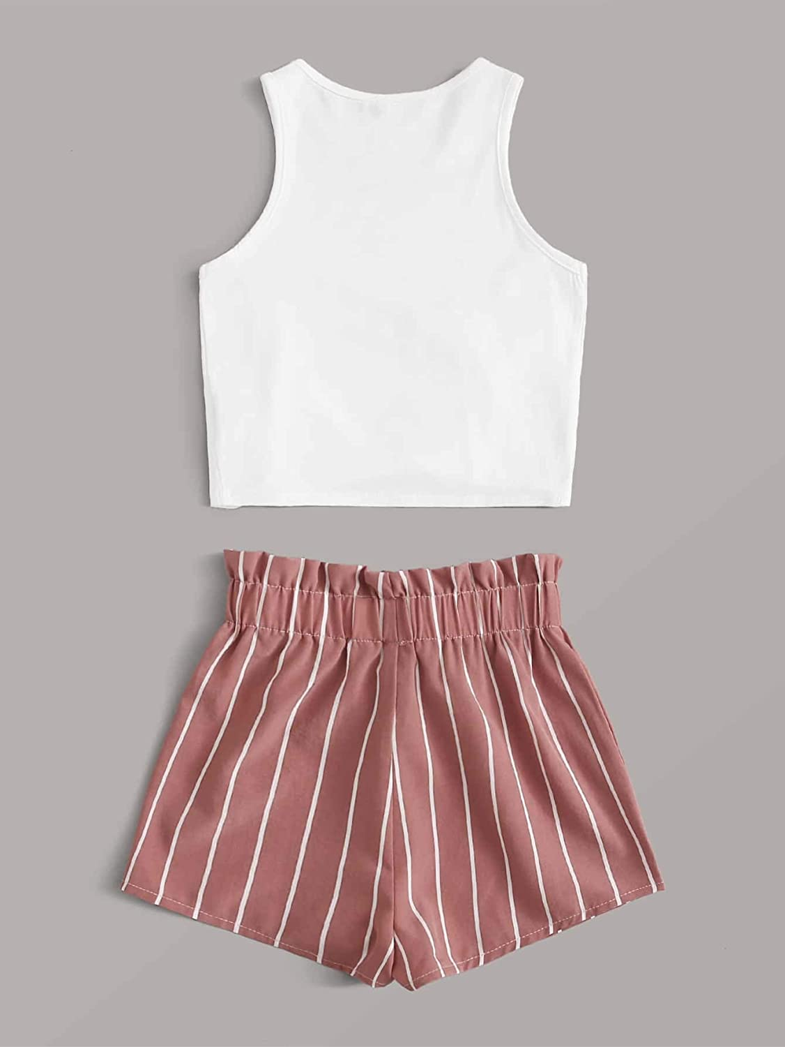 SOLY HUX Girls 2 Piece Outfits Tie Knot Front Tank Tops and Striped Shorts Set