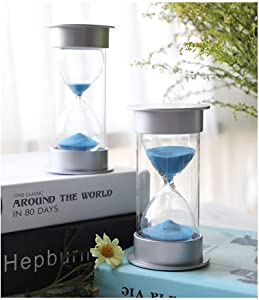 HUIJUNWENTI Hourglass blue sand time timer decoration, can be timed 10/30 minutes, home decoration, send friends and children birthday study gift Living room decoration (UnitCount : 30 minutes)