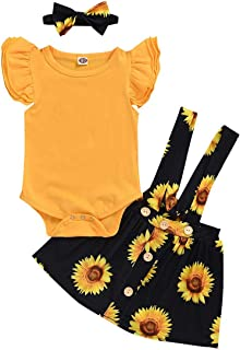 FYMNSI Toddler Kids Baby Girl Sunflower Outfit Cotton Ruffle Romper Bodysuit Floral Pants//Skirt Bowknot Headband 3pcs Clothes Set for 3-24 Months