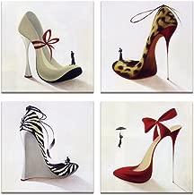 Visual Art Decor High Heel Shoes Canvas Wall Art Innovational Protect Animals Series Design Shoes Prints Shoes Shop Dress Room Wall Decor (12