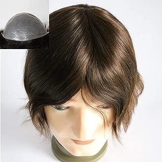 Lumeng Men Toupee PU Men's Wigs Human Hair Hairpieces Mens Hair Unit Silicion Skin Base Hair Replacement Unit 2# Dark Brown Color(8x10inch)