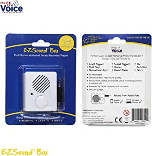 EZSound Box - Front Play Button for Personal Messages, Favorite Tunes, Stuffed Toys, Science Projects, Hobbies, Craft Projects, Talking Displays, etc - 200 seconds - Rerecordable thru Audio Port