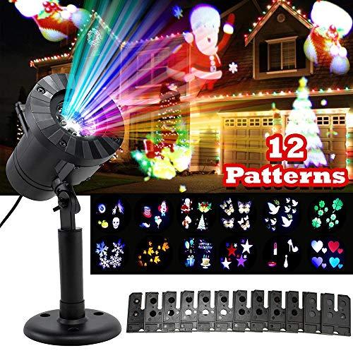 HL Copo De Nieve De La Luz del Proyector IP65 Impermeable Al Aire Libre De Luz LED De 12 Diapositivas Dinámica De Proyección De Luz De Navidad Decoración De Halloween Cubierta Exterior del Proyector