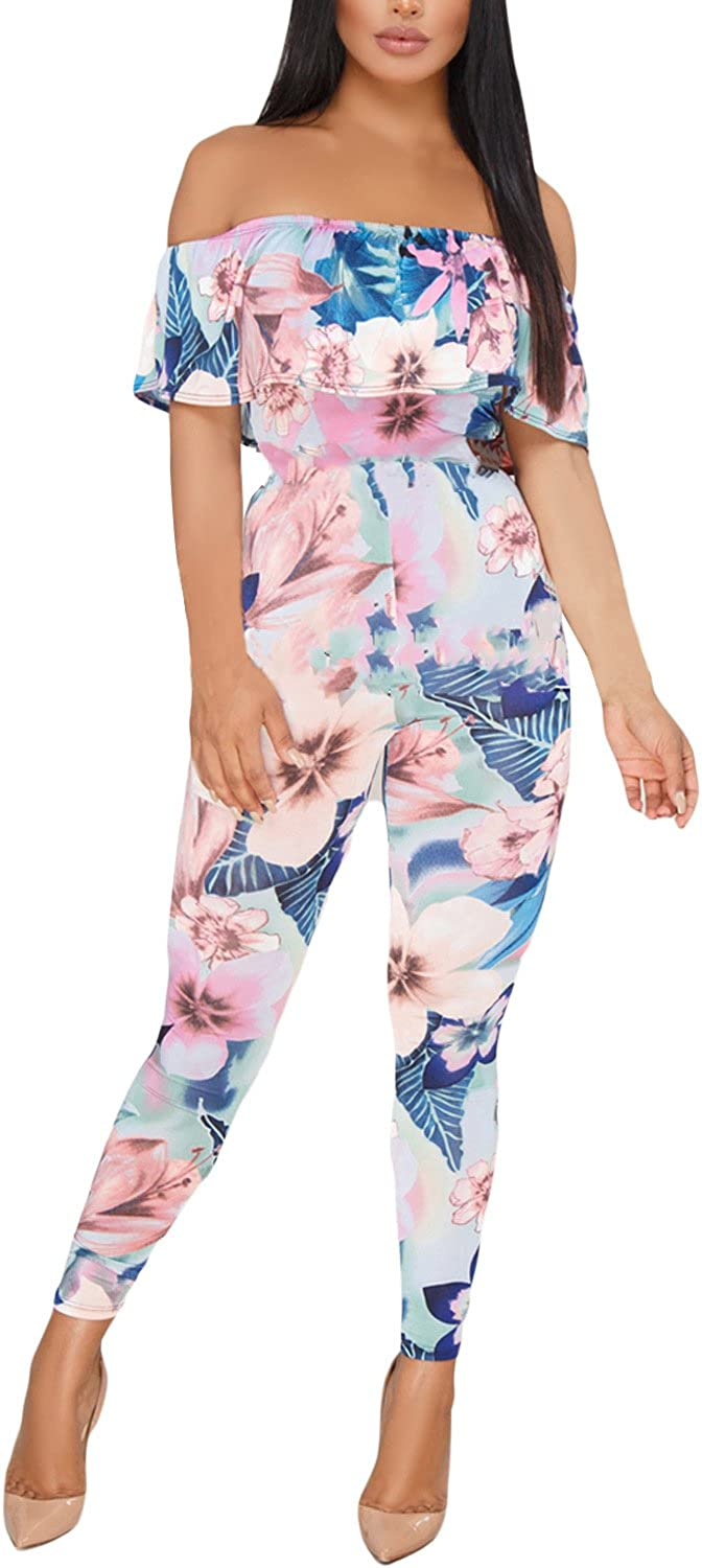 ROSKIKI Womens Floral Printed Off The Shoulder Ruffle Metal Belt High Waist Sexy Long Bodycon Jumpsuits Rompers