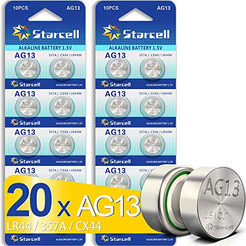 ACT AG13/LR44 Knopfzellen (20 Stück) - A76 / L1154 / SR44 / G13 / 357 - 1,5 V. AG13 X 20