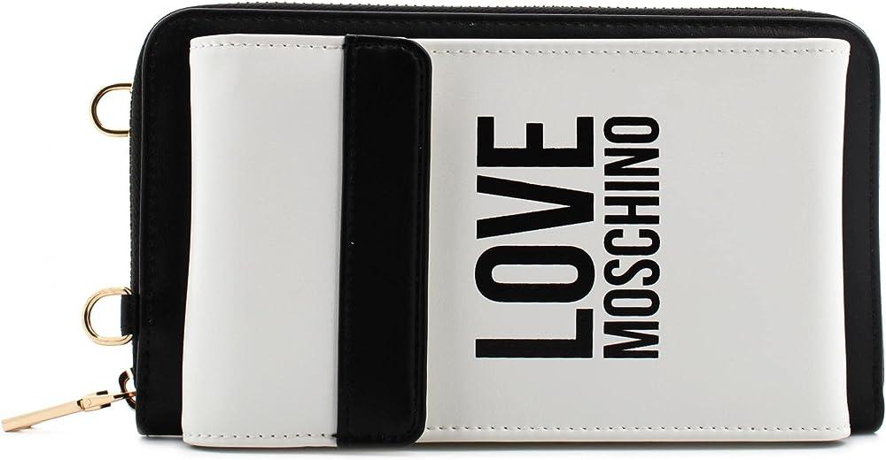 Love moschino portafoglio porta carte di credito per donna in pelle sintetica bianca