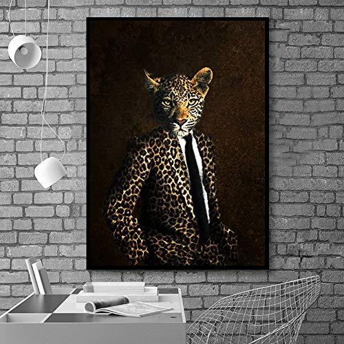 wtnhz Vintage Leopardenkopf Tier Gentleman Leinwand und Druck Leinwand Poster Wohnzimmer Wand Künstler Haus Dekoration Kein Rahmen