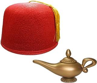 Red Fez Hat Cap And Genie Magic Wish Lamp Costume Set Kit
