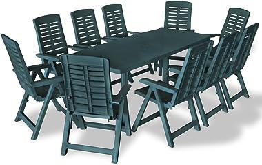 Mobilier de Jardin Salons de Jardin Mobilier à dîner d'extérieur 11 pcs Plastique Vert