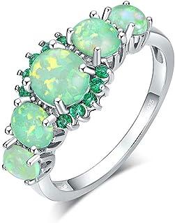 خاتم CiNily مطلي بالفضة الأخضر / الوردي / الأبيض من Fire Opal Emerald Gemstone مقاس 5-12