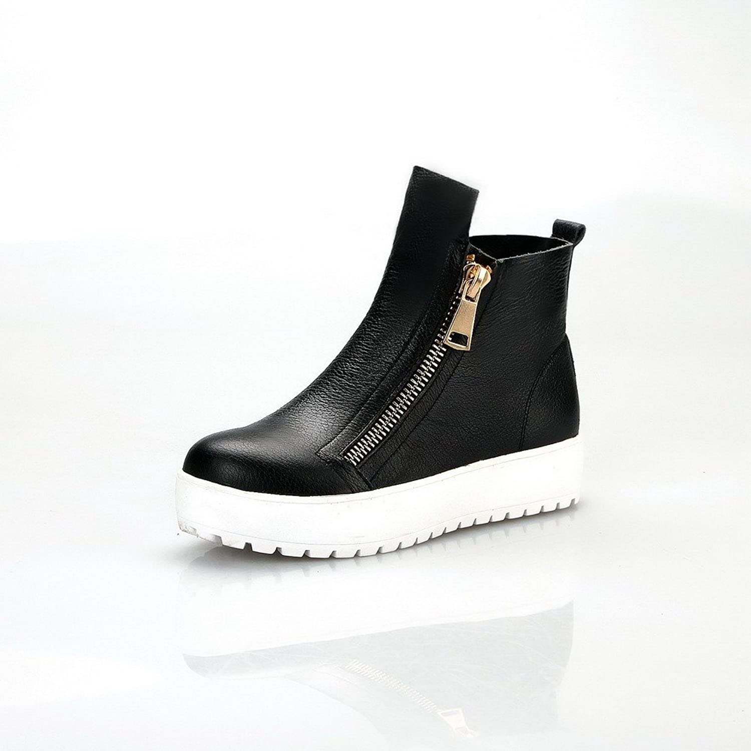 WeenFashion Women's Cow Leather Low-heels Round-toe Boots with Zippers and Non-Slipping Sole