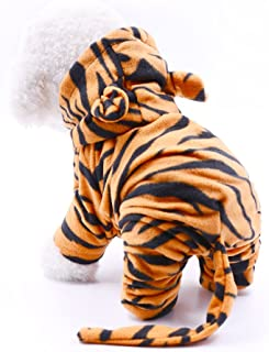 Dr.NONO Tiger Costume - Cosplay Costume for Small Dogs and Cats - Yellow and Black Velvet Pet Clothes - Warm Apparel Winte...