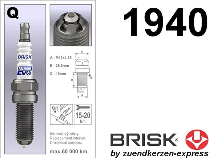 Brisk Premium Evo Qr15bfxc 1940 Spark Plugs Pack Of 3 Auto