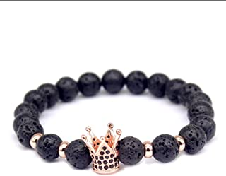 2018 Trending Products Fashion Men Jewelry Cubic Zircon Crown Agate Beads Lava Stone Bracelets