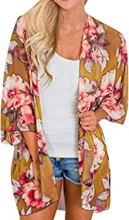 Fankle Women's Beach Cover up Chiffon Boho Floral Print Summer Cardigans Kimono Loose Shawl Top Blouse Beachwear