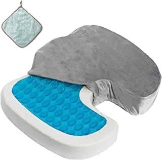 Gel Seat Cushion Memory Foam Coccyx Cushion U Shape with Soft Velour Cover Non Slip Bottom for Sciatica Tailbone Low Back ...